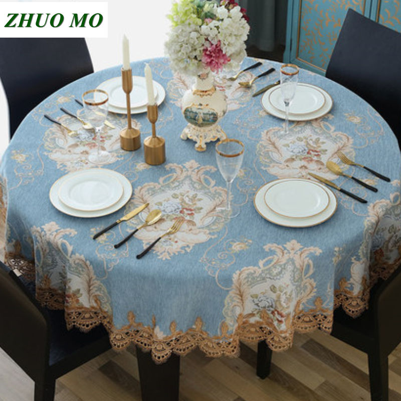 Luxury European style Round table cloth with Lace edge kitchen accessories living room Coffee house home