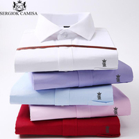 Sergio K Camisa Men Shirts Long Sleeve Slim Brand Fashion Designer High Quality Solid Male Clothing