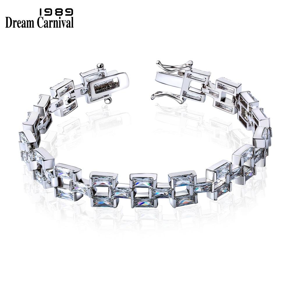 DreamCarnival 1989 Wholesale Fashion white Cubic Zirconia Rectangle Stones bracelets Luxury Jewelry Bracelet for woman SB01904R
