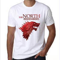 Tshirt Homme 2017 New Game Of Thrones T Shirt Men Cool The North Remembers Blood Wolf