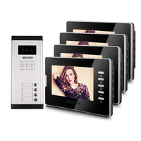 Brand New Apartment Intercom Entry System 4 Monitor 7 HD Color Video Door Phone Doorbell Intercom