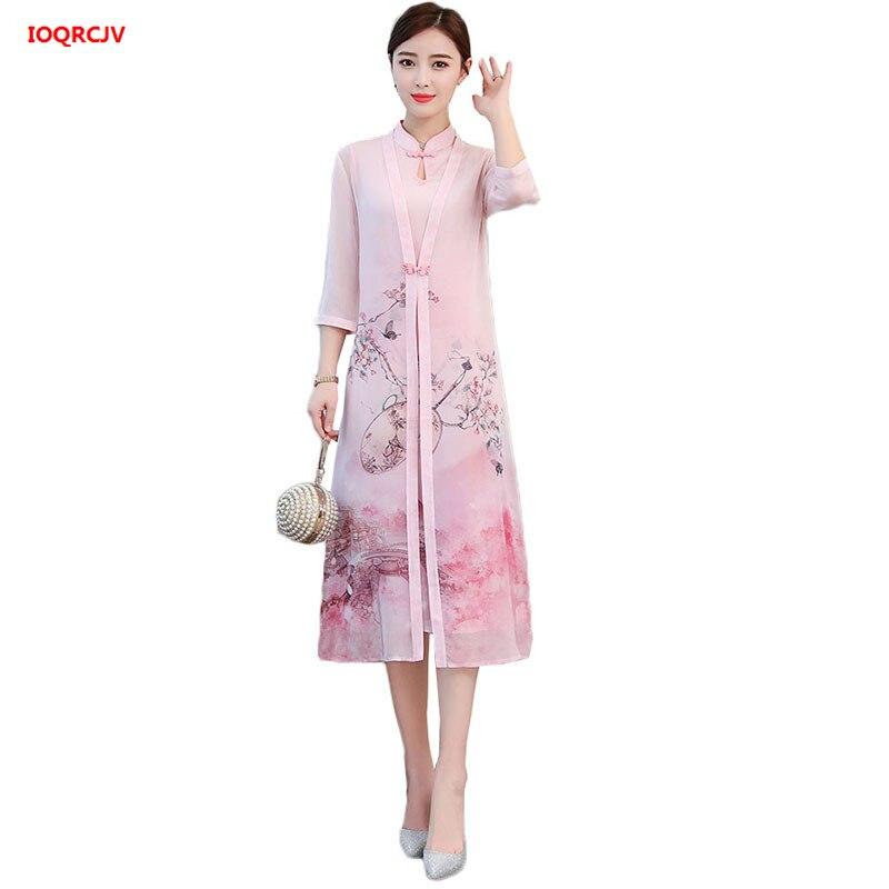 2019 New Chinese Style Cheongsam Dress Leisure Vietnam Womens Chiffon Dress Two-piece Suit lady elegant Dress Plus Size 3XL W759