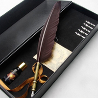 European Style Retro Quill Feather Dip Calligraphy Pen Set Graduation Gift