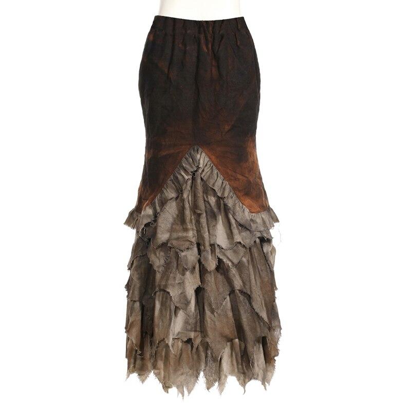 Steampunk Gothic Do Old Decadent Long Skirts Punk Style Women Stitching Skirt Retro Long Fishtail Skirts