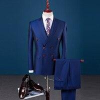 3 stück Anzug Männer 2017 Zweireiher Slim Fit Blazer Set Formal Wear Geschäfts Herren Smoking Hochzeit Kleid Anzüge Mann (jacke + hose + Weste