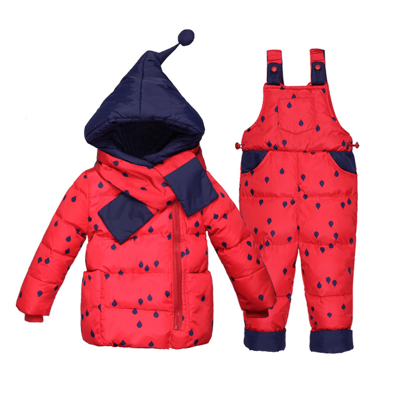 2017 New Winter Warm Baby Infant Down jacket Clothes Set Kids Hooded Jacket With Scarf Children Boys Girls Coat pattern Suit Set newborn boys girls winter warm down jacket suit set thick coat overalls suits baby clothes set kids hooded jacket with scarf
