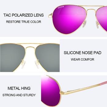 VEGOOS Aviation Mirrored Sunglasses Women Vintage Polarized UV400 Protection Fashion Metal Frame Driving Sun Glasses Pink #3025W 6