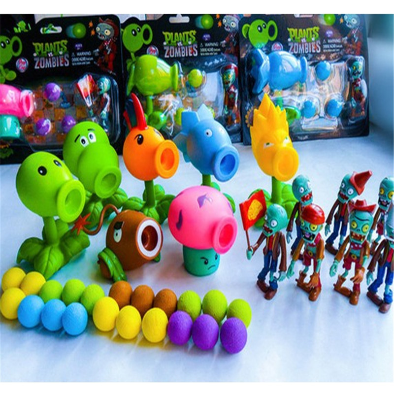 Plastic packaging plant wars zombie shooting game 2 toy toy pea coconut PVC toy childrens Christmas present