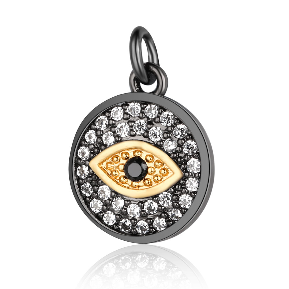 Beiver Evil Eye CZ Charm Micro Pave Cubic Zirconia Lucky Evil Eye Pendant Charms Two Tone Gun Metal Plated Wholesale