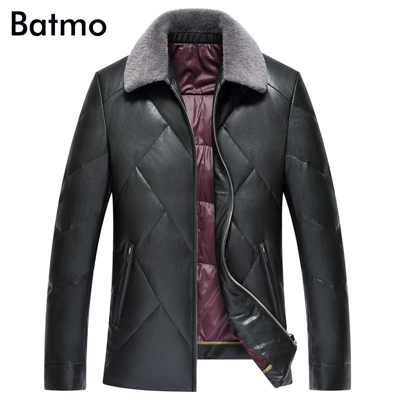 Batmo 2017 new arrival winter PU cashmere collar white down duck jackets men ,winter coat men ,2 colors PY908