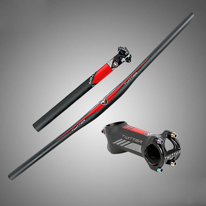 TW carbon fibre mountain bike handlebar sets  Reflector mark Racing bicycle flat handlebar720+seatpost31.6*350+stem bike parts
