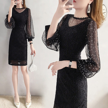 Spring and summer new style Fashion mesh dress Temperament fashion black lace