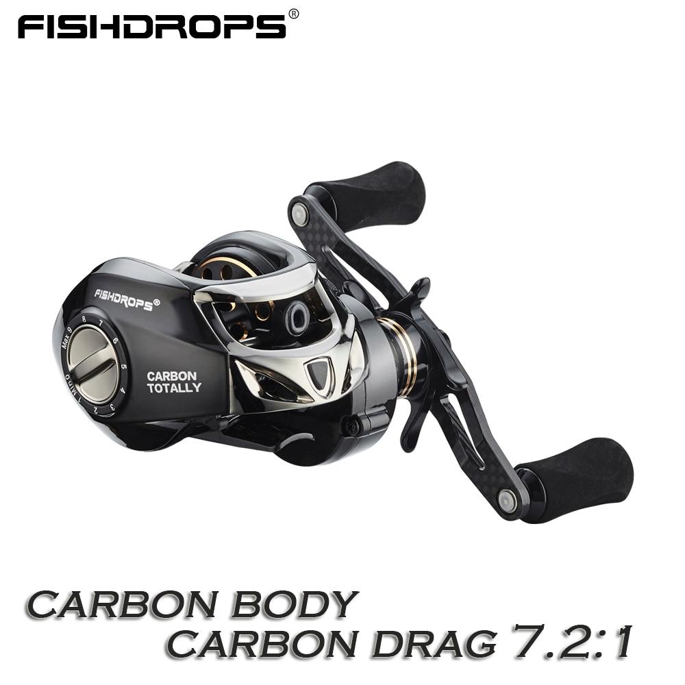 Fishdrops Baitcasting Reel Carbon Fiber baitcasting fishing reel 167g casting reel High Speed 7 2 1