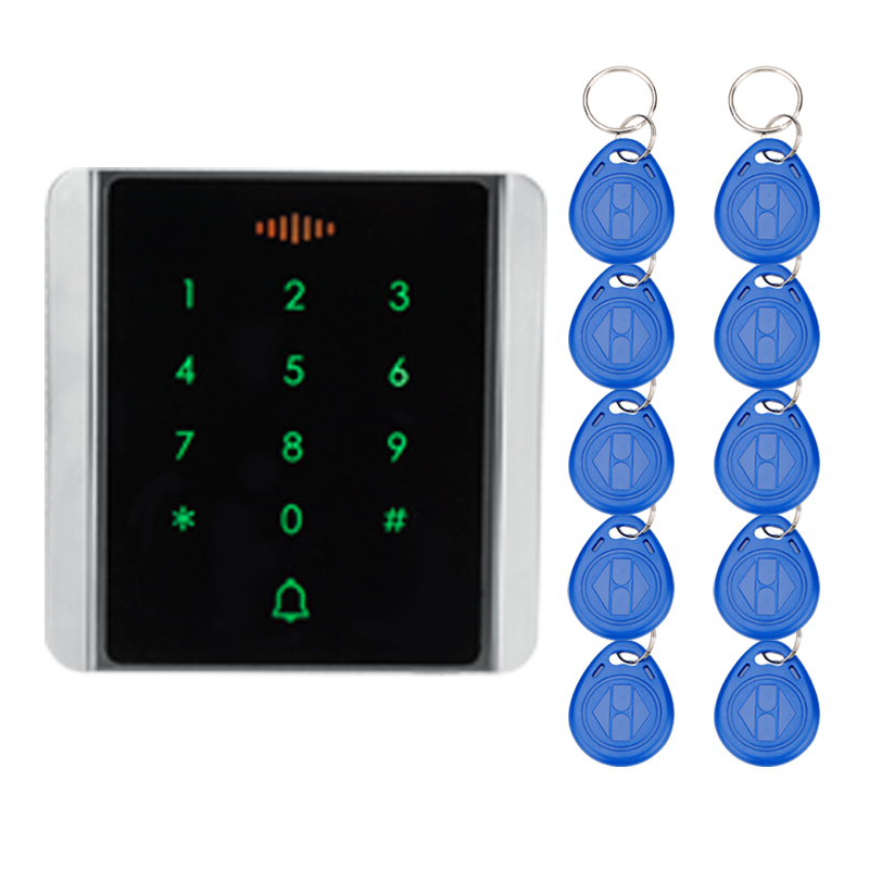 Standalone touch metal access control machine 125KHz RFID card reader with keys for door access control system with high quality good quality metal case face waterproof rfid card access controller with keypad 2000 users door access control reader