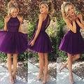 Púrpura oscuro Barato Homecoming dresses Una Línea Cabestro Cuello Sin Mangas Mini Tulle 2016 Vestidos de Baile