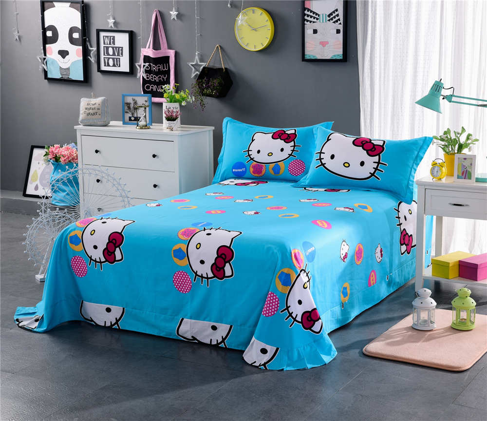 Hello kitty bedsheet blue - Aliexpress Com Buy Pink Blue Fashion Hello Kitty Print Bedding Sets Bedspreads Girl S Childrens Quilt Duvet Cover Cotton Twin Full Queen King Size From