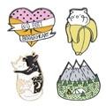 Эмалированная брошь в виде животного кота банана горного леса в форме сердца, значок из сплава, джинсовая рубашка, сумка, Заколка Для панка, ...