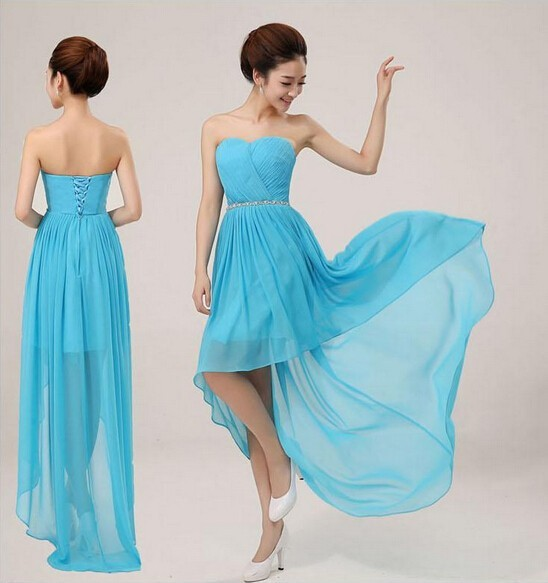 2014 Cheap Fashion Long Back Short Front Blue Bridesmaid