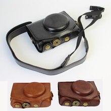 ポータブル Pu レザーケースカメラバッグカバーキヤノン SX740 SX740HS SX720HS SX720 SX730HS SX730 ポーチとショルダーストラップ