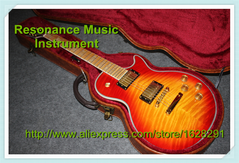 Wholesale & Retail Tiger Flame Finish LP Superme Electric Guitars China Cherry Sunburst With Hardcase Together For Sale