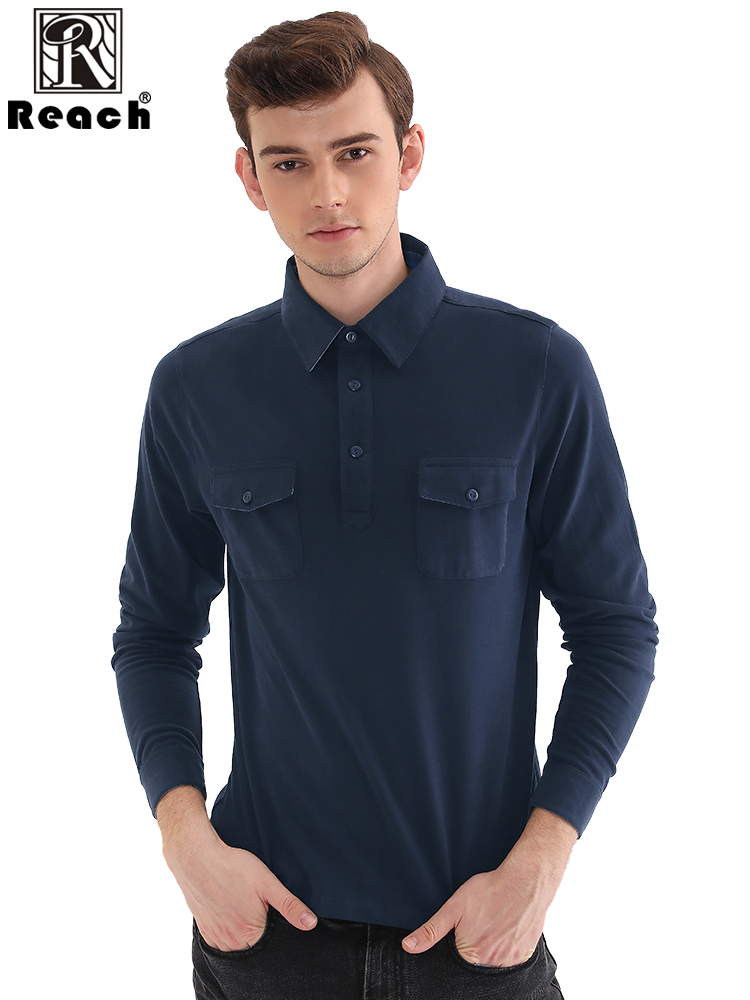 Reach Long Sleeve   Polo   Shirts Mens   Polo   Shirt With Pocket Cotton   Polo   Shirt Homme Para Hombre Casual Autumn Solid Color EU Size