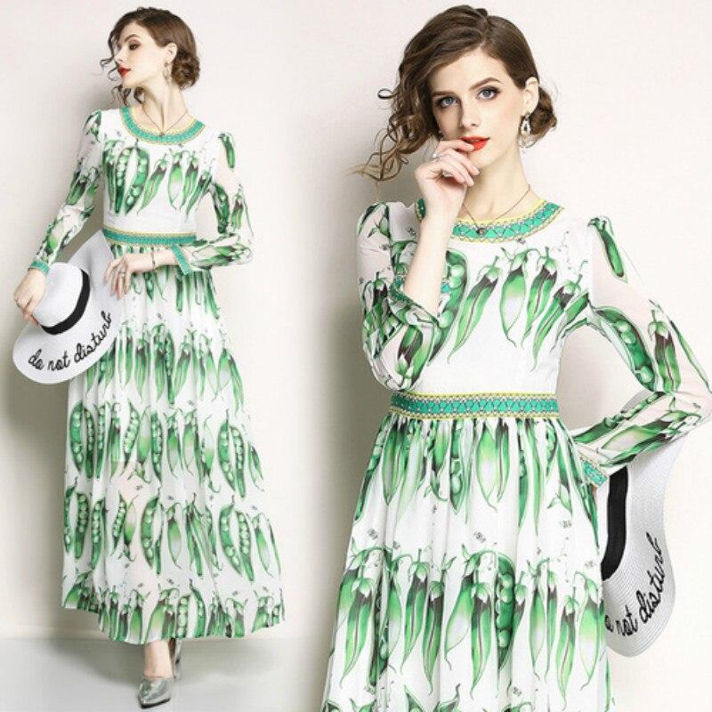 Occident nouveau 2019 longue robe femmes pois Pod élégant tempérament dames décontracté mode Boho plage robe grande taille vêtements