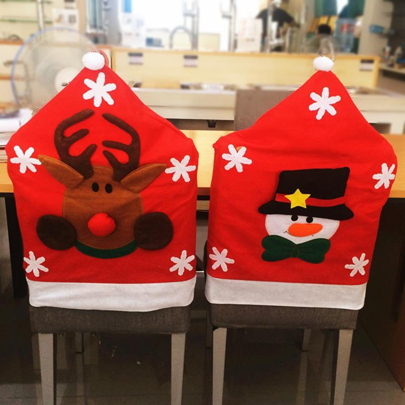 24pcs Lot Lovely Santa Claus Deer Snowman Chair Covers 5065cm Antimacassar Slipcovers Christmas