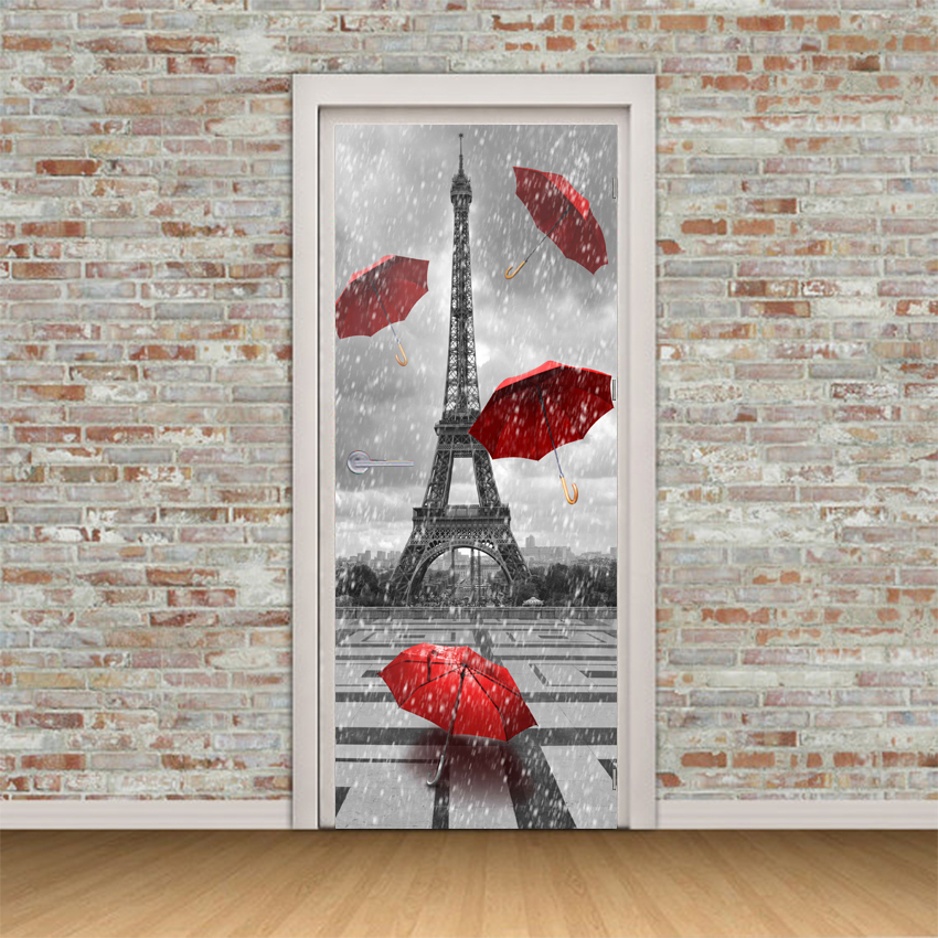 Self Adhesive Door Decal 3D Print Paris Tower Umbrella Landscape Picture Home Decor Vinyl Paper Waterproof Art Sticker Poster