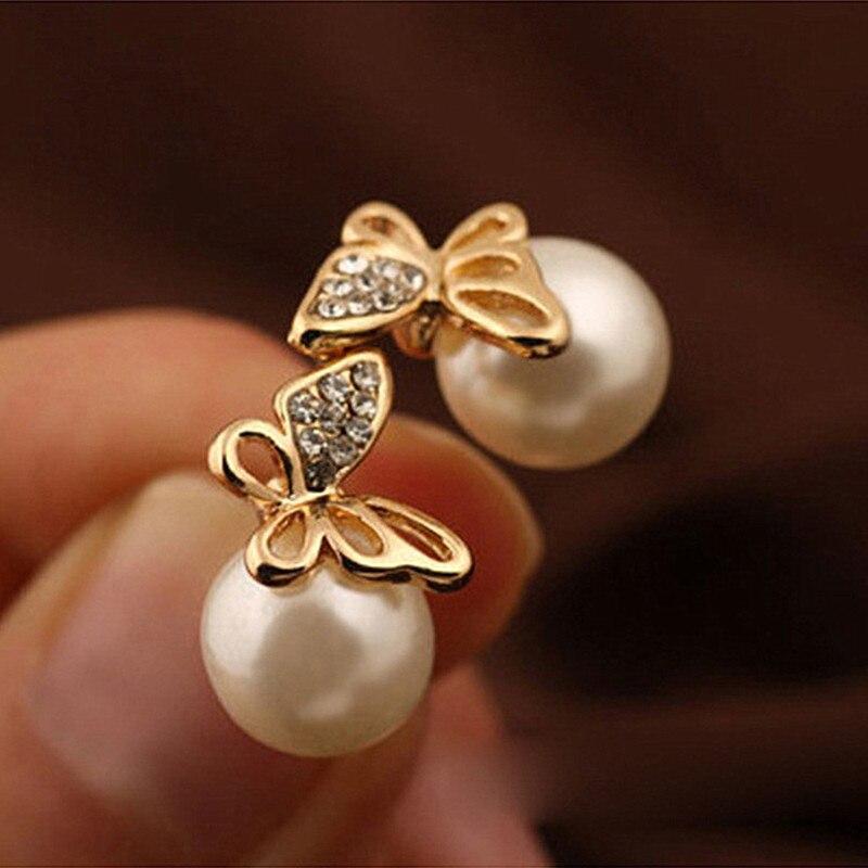 ES687 2017 Boucle D'oreille Bijoux Pendiente de Perlas Mariposa Stud Pendientes