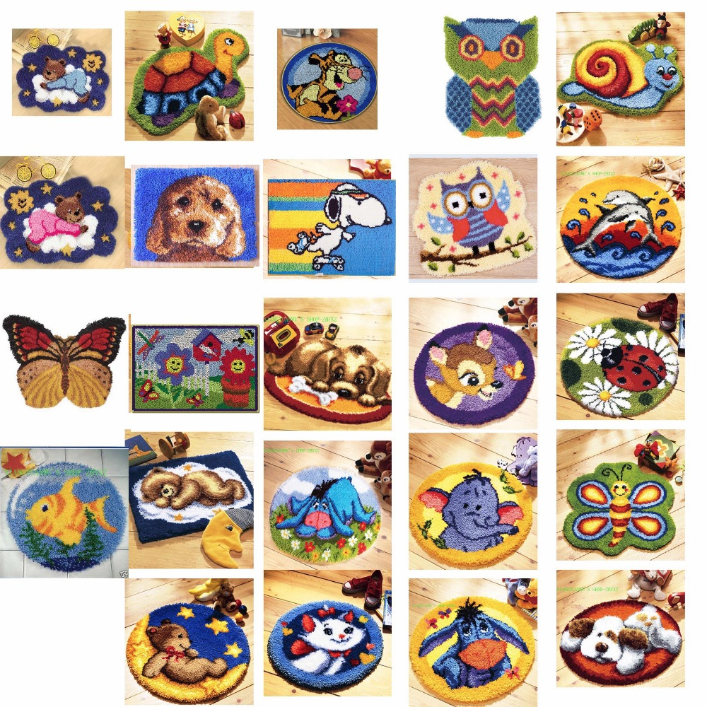 5TH Latch Hook Kit Rug Cushion Pillow Mat DIY Craft BEARS and tiger Cross Stitch Needlework Crocheting Rug Embroidery