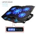 12-15.6 дюймов ноутбук Охлаждающая подставка Для Ноутбука cooler Вентилятор USB с 5 вентиляторы Свет Подставка Для Ноутбука и Тихий Приспособление для ноутбук
