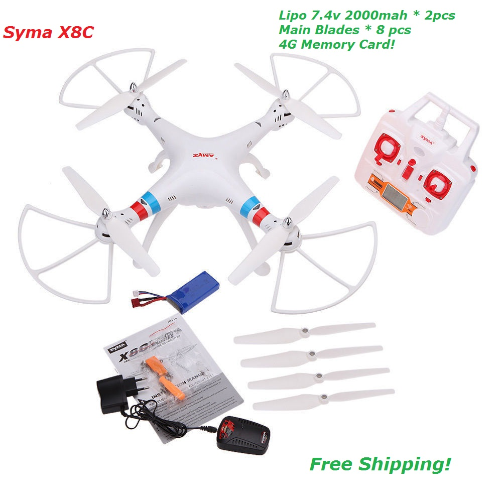 SYMA X8C X8 2.4G 4CH 6Axis Professional RC Drone Quadcopter With 2MP Wide Angle HD Camera Remote Control Helicopter 2 Batteries syma x8c 2 4g 4ch 6 axis with 2mp wide angle hd camera rc quadcopter rtf rc helicopter drone