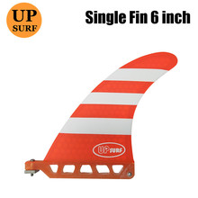 Longboard Fins 6inch Single blue/orange  6Length Fin in Surfing