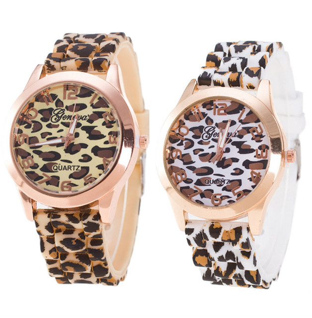 New Women Watches Fashion Ladies Unisex Geneva Leopard Printed Clock Silicone Je