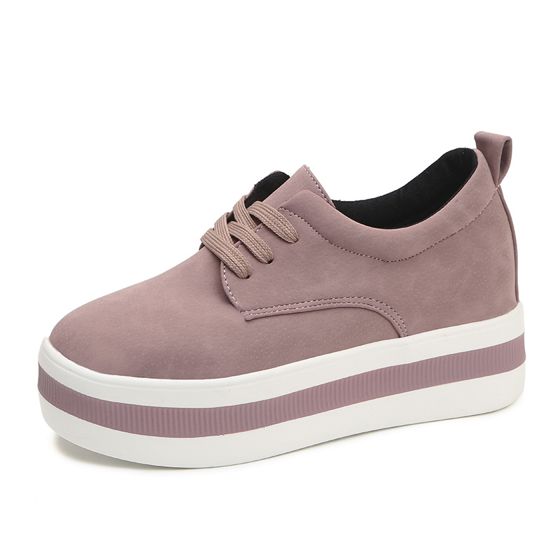 Image 2 - Women New Spring summer Faux Suede Shoes Casual Lace Up Sneakers Female Platform Shoes Ladies Flats Size 35 40 n969-in Women's Flats from Shoes