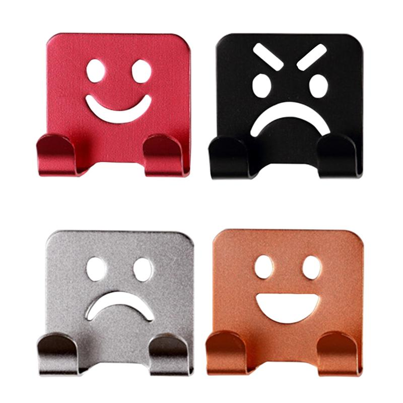 4Pcs Emoticon Smile Face Adhesive Towel Hooks Family Robe Hanging Hooks Hats Bag Door Wall Hanger