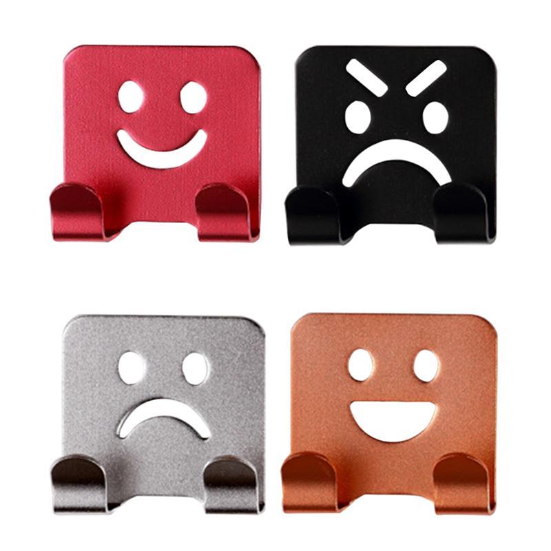 4Pcs Emoticon Smile Face Adhesive Towel Hooks Family Robe Hanging Hooks Hats Bag Door Wall Hanger