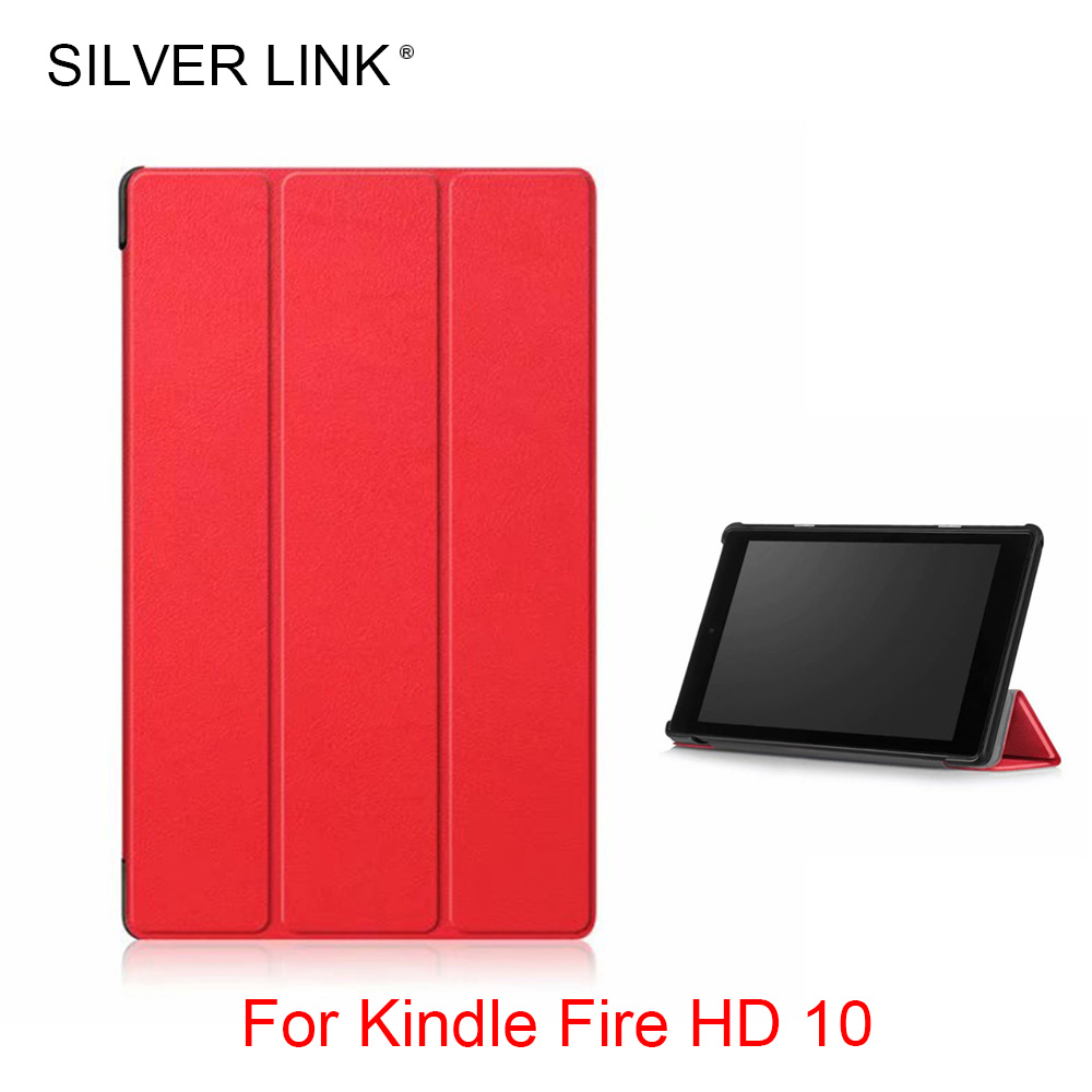 SILVER LINK Fire HD 10 Stander Case PU Faux Leather Cover For Foldable Shell Mlticolor Protector Skin