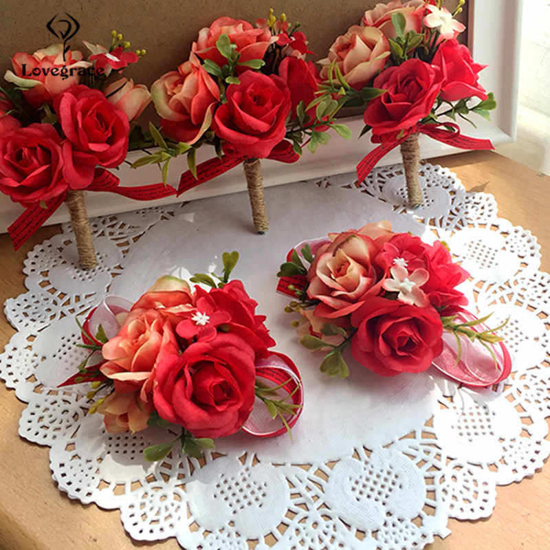 Lovegrace 手首コサージュ花嫁介添人姉妹の手の花人工花嫁の花結婚式のためにパーティーの装飾ブライダルウエディング