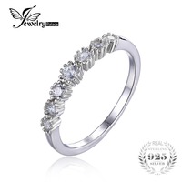JewelryPalace 925 Sterling Silver Cubic Zirconia Moon Band Ring For Women Fine Jewelry Romantic Gift Flower