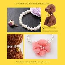 f83ed964272b Perro collar de perlas flor collar cristal colgante de hueso mascota  cachorro gato joyería tamaño pequeño