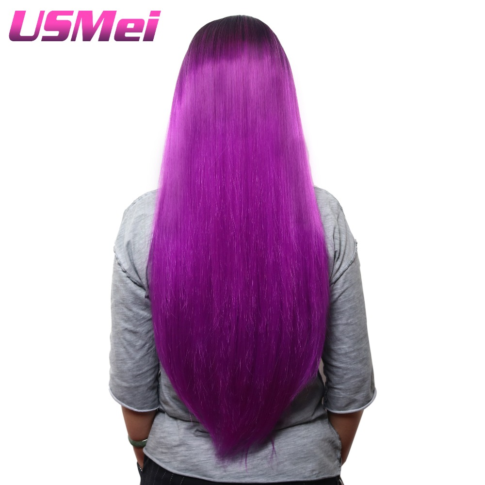 USMEI Cosplay wig straight purple in synthetic wigs for women 30 inches hair long ombre hair Heat Resistant for lady
