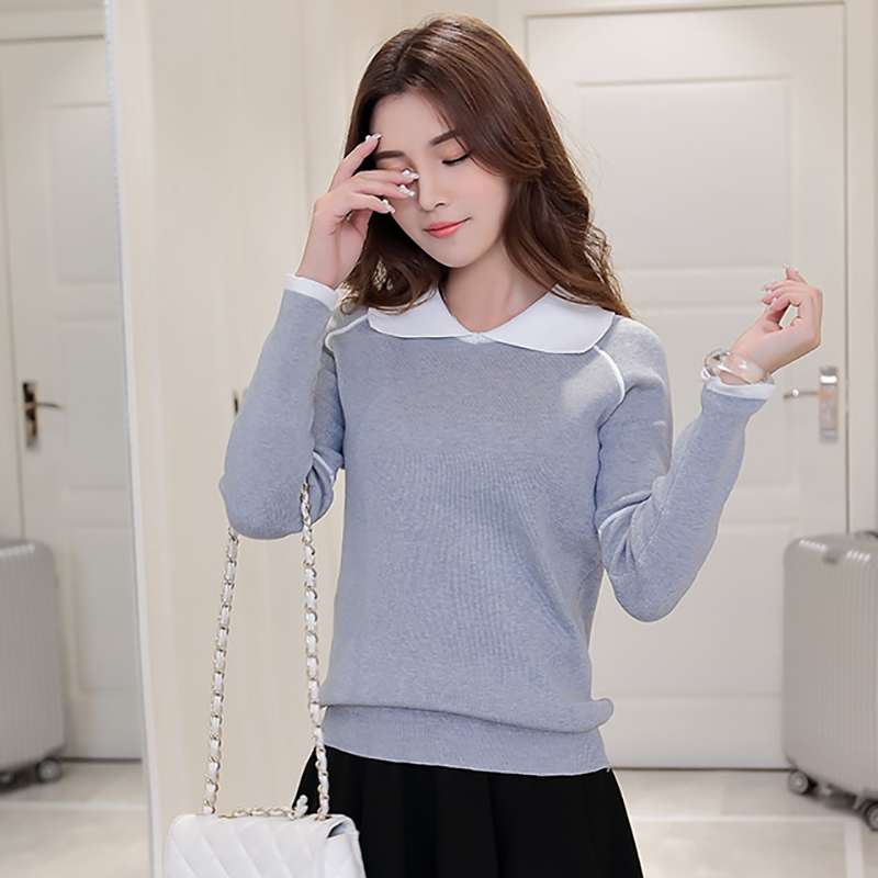 Shintimes Preppy Style Women Sweaters And Pullovers Turn-Down Collar 2019 Autumn Long Sleeve Sweater Woman Knitted Pull Femme