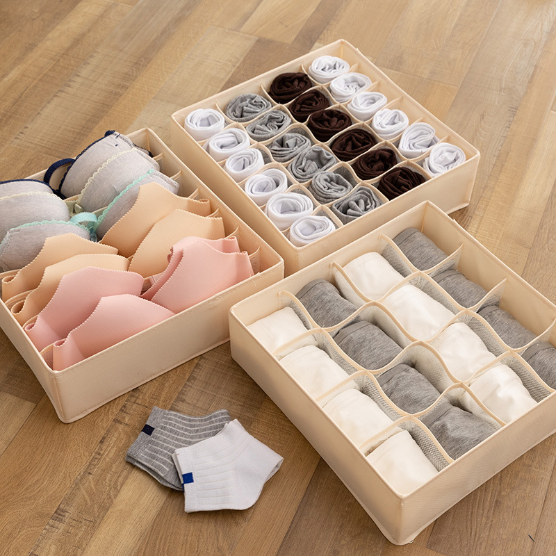 Closet:  Dormitory closet organizer for socks home separated underwear storage box 7 grids bra organizer foldable drawer organizer - Martin's & Co