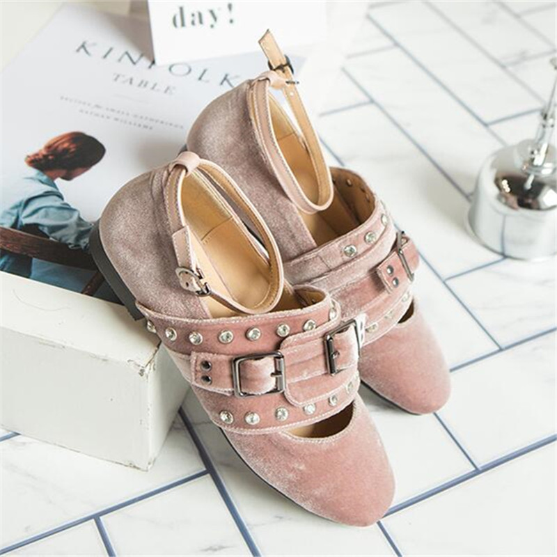 Pic Femmes Rond as Chaussures Designer Pic Appartements Courroie 2019 Boucle Cristal Rose Ballerines Chaud Confortables Printemps Casual As Bout De 4qTOxqEw1f