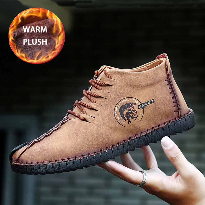 SUROM Large Size Winter Men Leather Casual Shoes Breathable Plush Leather Handmade Vintage Shoes Men Moccasins Flats Shoes