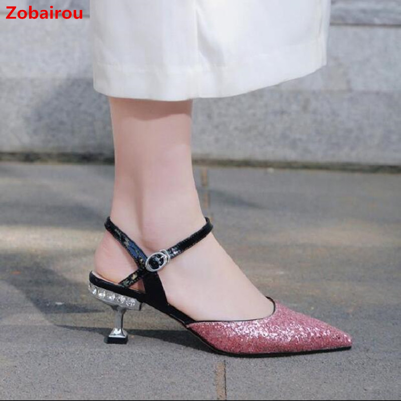 все цены на Fashion Pointed Toe Women Pumps Sexy Bling Bling Bride Wedding Party Shoes Leather Ankle Strap Low Heel Runway Sandals Summer