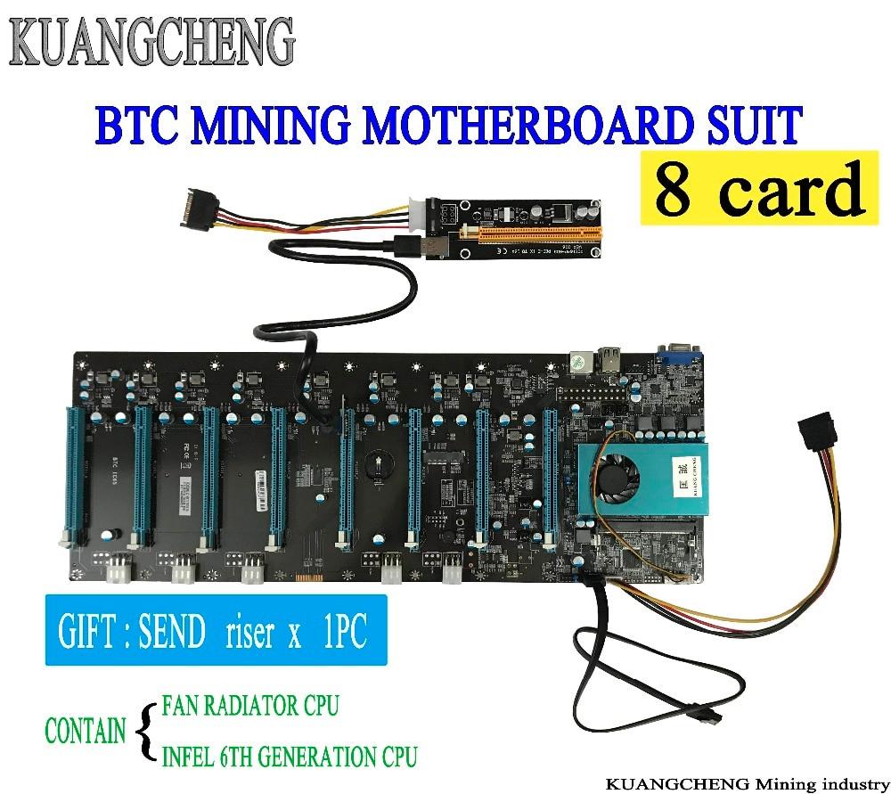 ETH minero BTC IC6S minería placa base 8 gráficos ranuras para tarjetas PCI Express 8 a 16x ranuras DDR4 SATA3.0 1000 Mbps LAN placa base