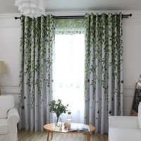 Modern Jacquard green pastoral Curtains Striped Photo Curtain Kitchen Decorations Curtains For Living Room Cloth Custom Bedroom