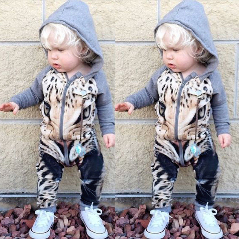 Fashion Baby Boys Girls Clothes 0-24M Newborn Infant Kids Leopard Long Sleeve Romper Zipper Hooded Bebes Clothing cotton baby rompers set newborn clothes baby clothing boys girls cartoon jumpsuits long sleeve overalls coveralls autumn winter